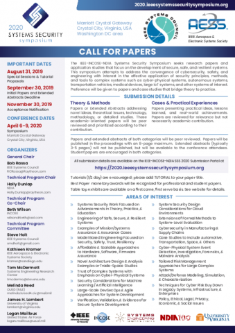 Call for Papers | Systems Security Symposium 2020